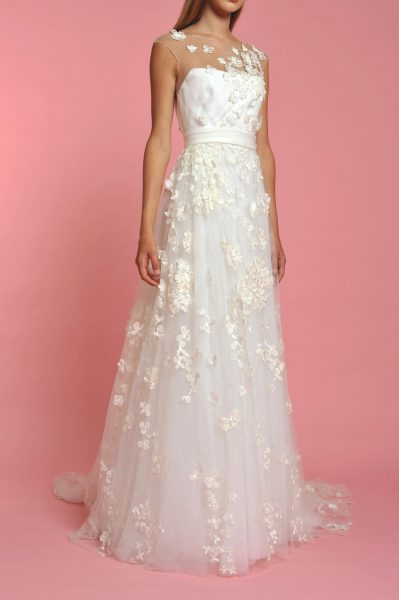 Illusion Neck Sleeveless Flower Applique A-line Wedding Dress - Image 1