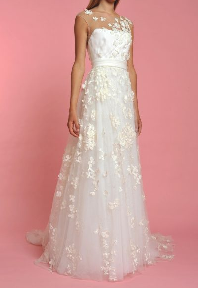 Illusion Neck Sleeveless Flower Applique A-line Wedding Dress by Officina di Cucitura