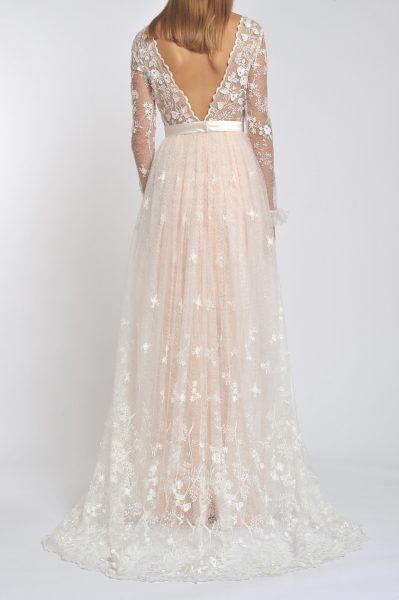 Long Sleeve Deep V-neck Flower Applique Sheath Wedding Dress by Officina di Cucitura - Image 2