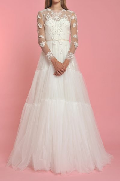 Long Sleeve Illusion Sweetheart Neck Flower Applique Wedding Dress - Image 1