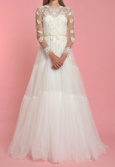 Long Sleeve Illusion Sweetheart Neck Flower Applique Wedding Dress