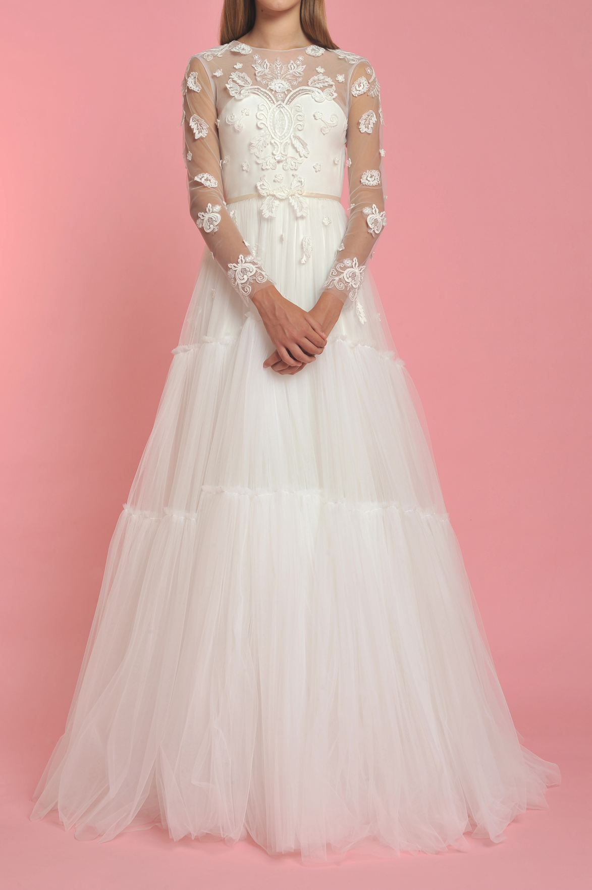 Long Sleeve Illusion Sweetheart Neck Flower Applique Wedding Dress ...