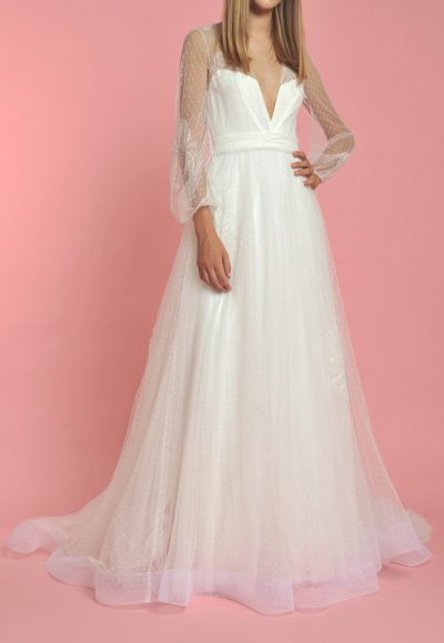Long Sleeve V-neck Textured Tulle Skirt Wedding Dress by Officina di Cucitura