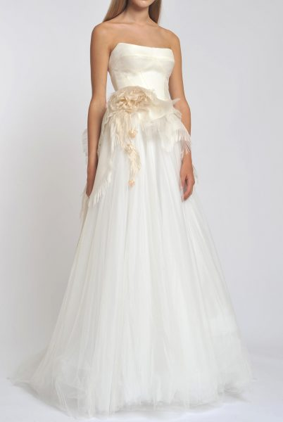 Straight Neck Strapless Tulle Skirt A-line Wedding Dress by Officina di Cucitura - Image 1