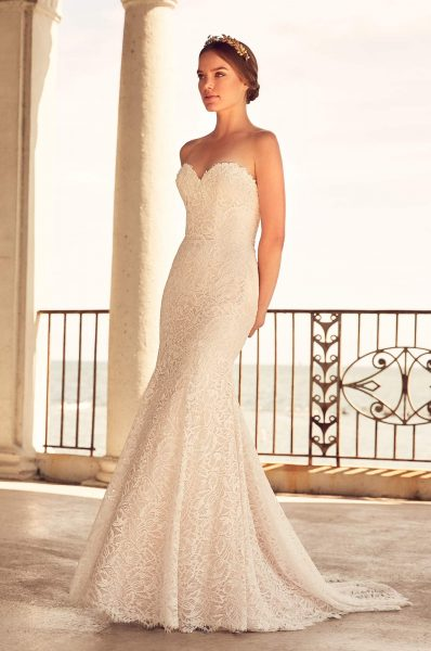 Fit And Flare Lace Gown With Sweetheart Neckline by Paloma Blanca - Image 1