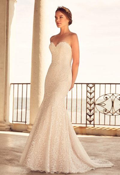 Fit And Flare Lace Gown With Sweetheart Neckline by Paloma Blanca