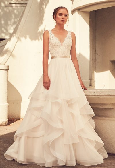 Lace V-neck Natural Waist Tulle Skirt Ball Gown by Paloma Blanca