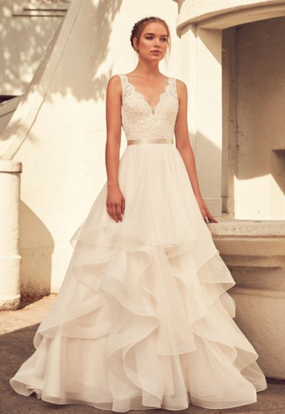 Scalloped V-neck Lace And Tulle Ball Gown Wedding Dress by Paloma Blanca