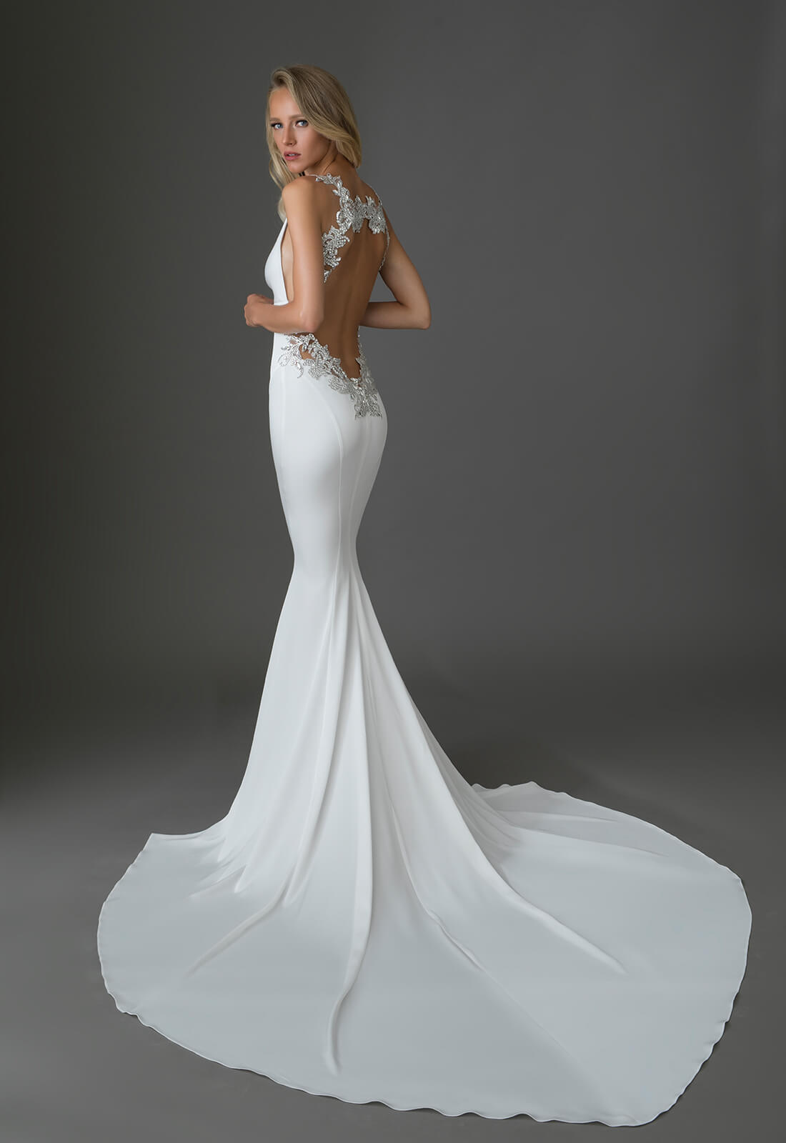 Crepe Gown With V Neck And Embellished Low Keyhole Back