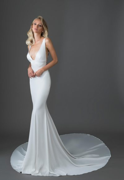 Crepe Gown With V-neck And Embellished Low Keyhole Back by Pnina Tornai