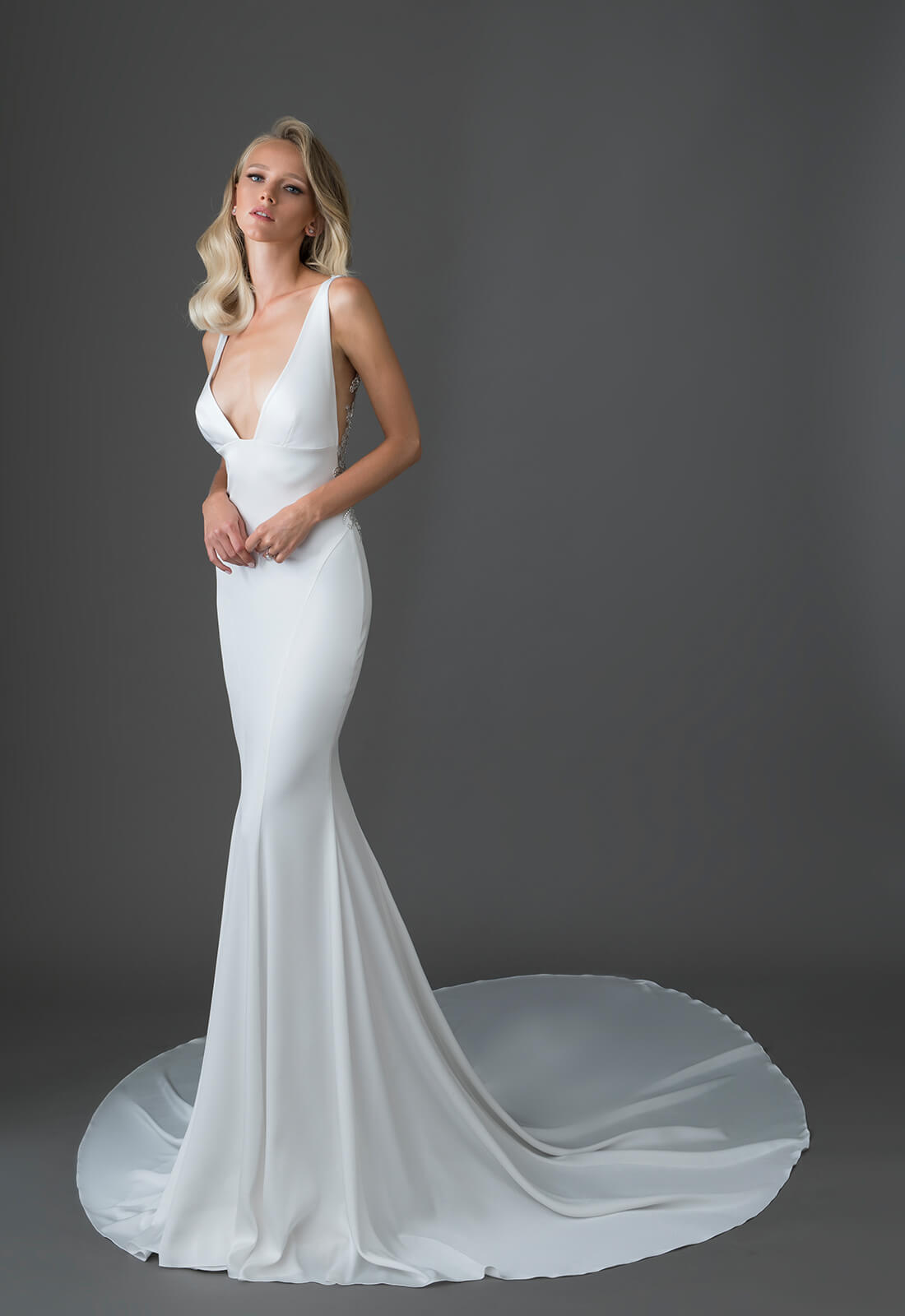 Crepe Gown With V Neck And Embellished Low Keyhole Back Kleinfeld