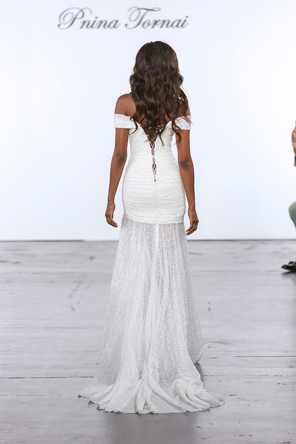Glitter Draped Sheath Gown With Sheer Skirt With Slit | Kleinfeld Bridal