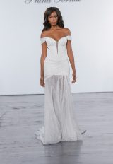 Glitter Draped Sheath Gown With Sheer Skirt With Slit by Pnina Tornai - Image 1