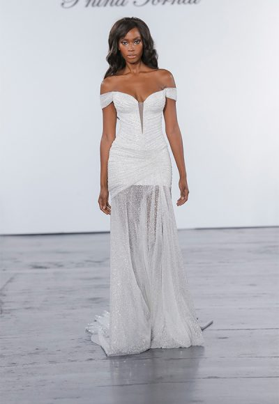 Glitter Draped Sheath Gown With Sheer Skirt With Slit by Pnina Tornai