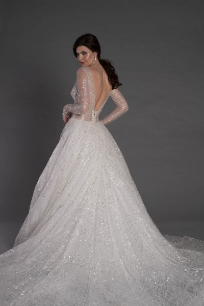 Long Sleeve Ball Gown With Corset And Illusion Neckline by Pnina Tornai - Image 2