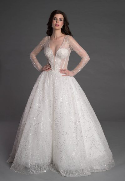 Long Sleeve Ball Gown With Corset And Illusion Neckline by Pnina Tornai