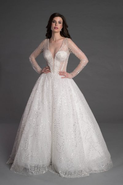 Long Sleeve Ball Gown With Corset And Illusion Neckline by Pnina Tornai - Image 1