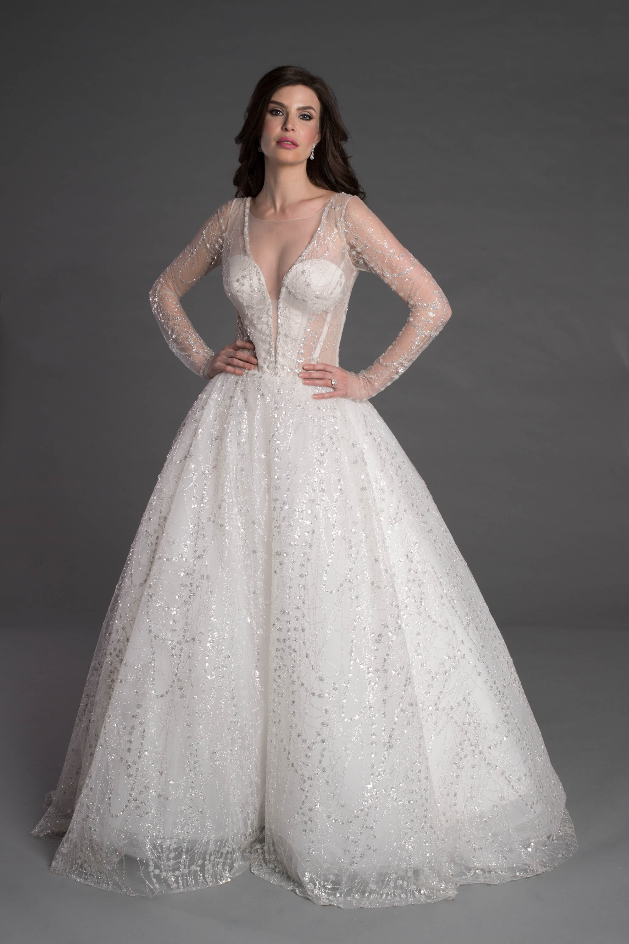 Long Sleeve Ball Gown With Corset And Illusion Neckline   Kleinfeld ...
