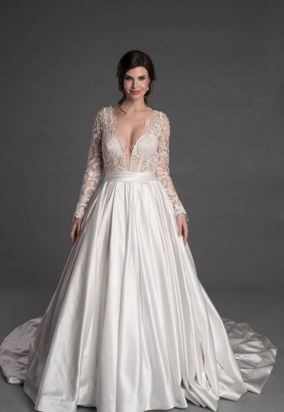 Long Sleeve Ballgown With Lace And Plunging V-neckline by Pnina Tornai