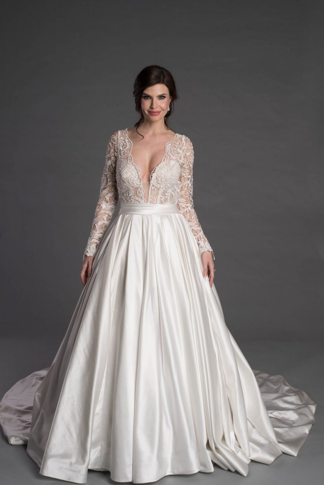 Long Sleeve Ballgown With Lace And Plunging V-neckline by Pnina Tornai - Image 1
