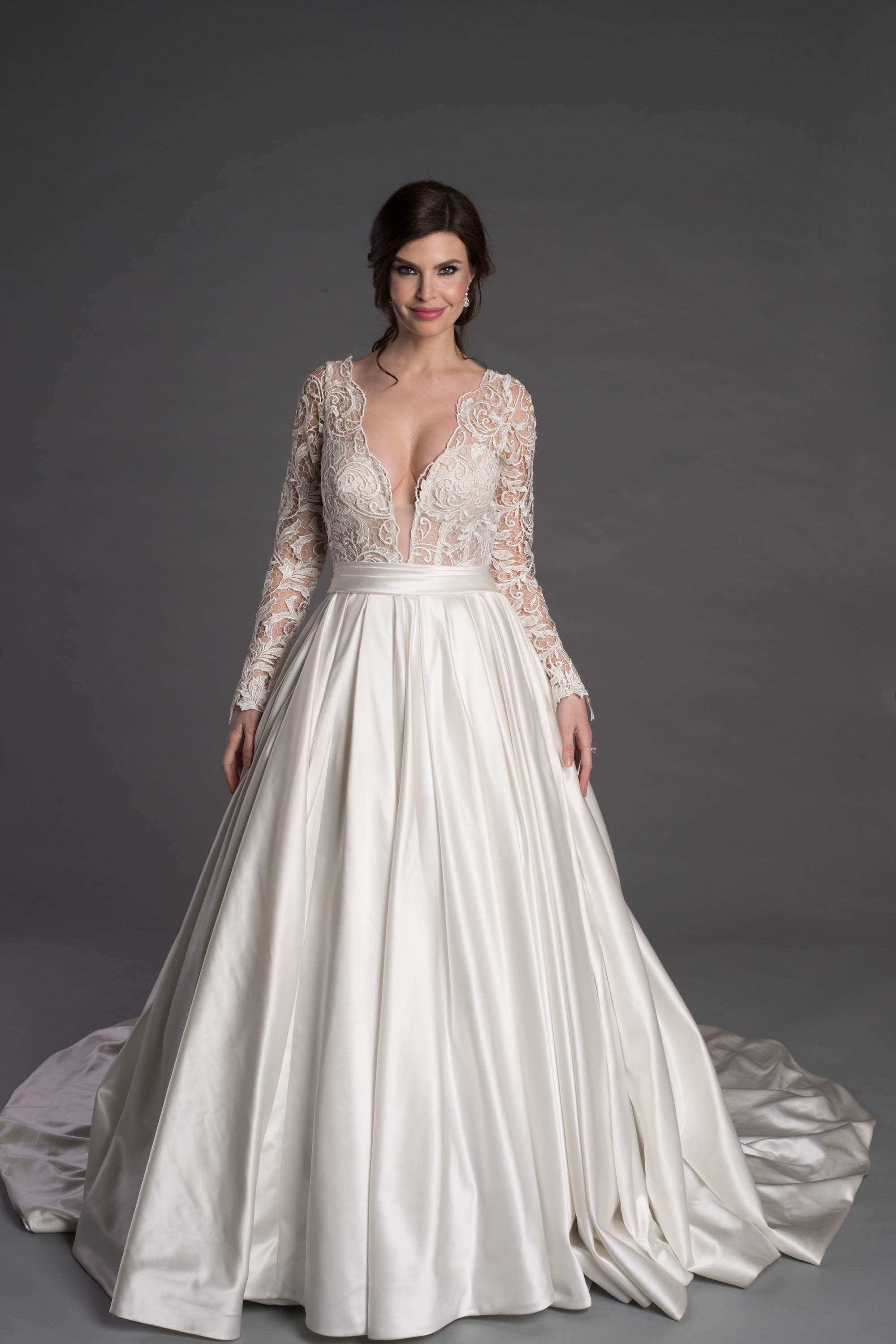 Long Sleeve Ballgown With Lace And Plunging V Neckline