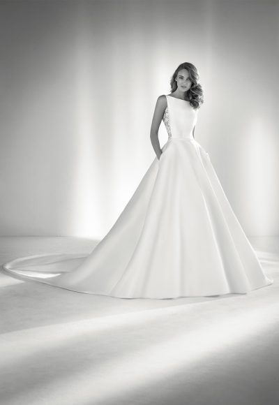 Bateau Neckline Ball Gown Wedding Dress by Pronovias