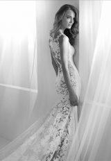 Bateau Neckline Lace Back Sheath Wedding Dress by Pronovias - Image 2