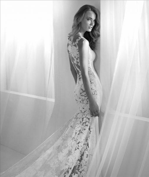Bateau Neckline Lace Back Sheath Wedding Dress