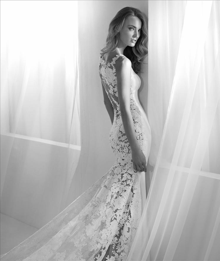 Bateau Neckline Lace Back Sheath Wedding Dress | Kleinfeld Bridal