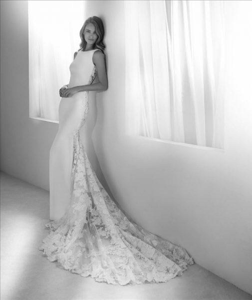 Bateau Neckline Lace Back Sheath Wedding Dress by Pronovias - Image 1