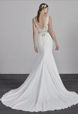 Deep V-neck Sleeveless Beaded Lace Bodice Fit And Flare Wedding Dress by Pronovias - Image 2