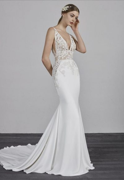 Deep V-neck Sleeveless Beaded Lace Bodice Fit And Flare Wedding Dress by Pronovias