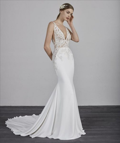 Deep V-neck Sleeveless Beaded Lace Bodice Fit And Flare Wedding Dress by Pronovias - Image 1