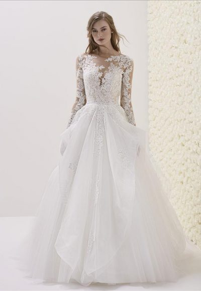 Long Sleeve Illusion Sweetheart Neck Lace Bodice Ball Gown Wedding Dress by Pronovias