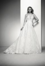 Long Sleeve Lace Illusion Wedding Dress With Beaded Appliques by Pronovias - Image 1