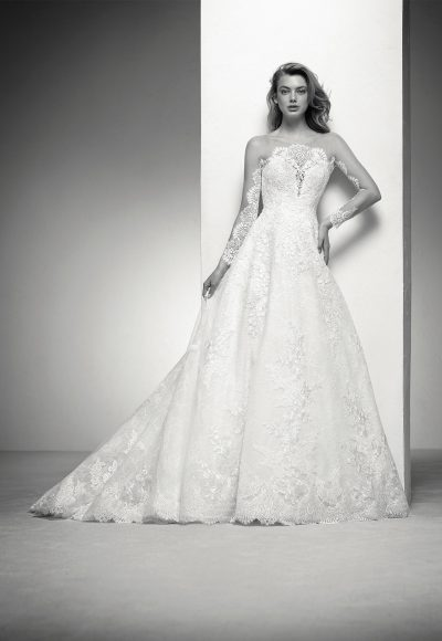 Long Sleeve Lace Illusion Wedding Dress With Beaded Appliques by Pronovias