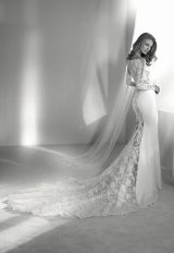 Long Sleeve Off-the-shoulder Illusion Fit And Flare Wedding Dress With Statement Back And Sweep Train by Pronovias - Image 2