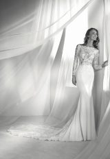 Long Sleeve Off-the-shoulder Illusion Fit And Flare Wedding Dress With Statement Back And Sweep Train by Pronovias - Image 1