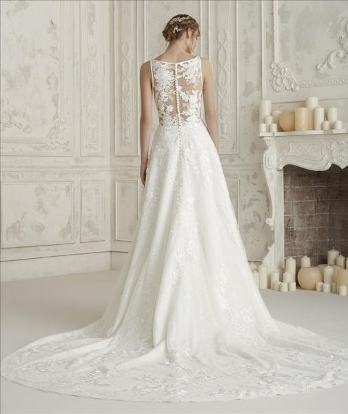 Sleeveless Bateau Neckline A Line Wedding Dress With Back Details
