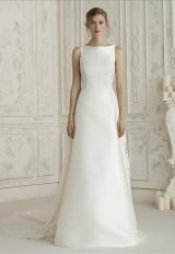 Sleeveless Bateau Neckline A-line Wedding Dress With Back Details by Pronovias - Image 1