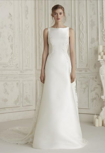 Sleeveless Bateau Neckline A-line Wedding Dress With Back Details by Pronovias