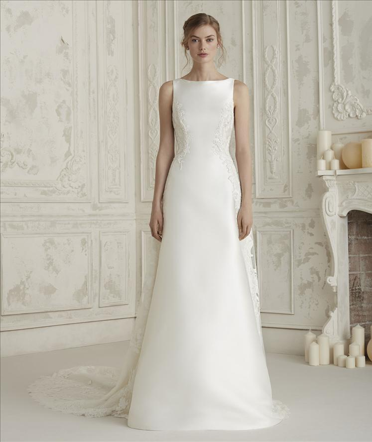 Wedding Gown Necklines: Sleeveless Bateau Neckline A-line Wedding Dress With Back