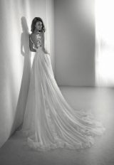 Sleeveless Illusion A-line Wedding Dress With Embroidery And Chiffon Skirt by Pronovias - Image 2