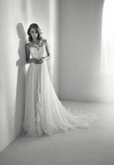 Sleeveless Illusion A-line Wedding Dress With Embroidery And Chiffon Skirt by Pronovias