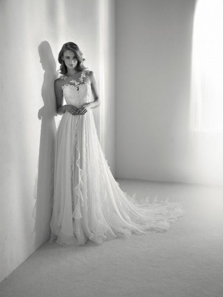 Sleeveless Illusion A-line Wedding Dress With Embroidery And Chiffon Skirt by Pronovias - Image 1