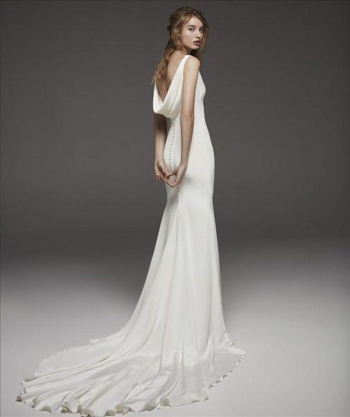 Sleeveless V-neck Simple Silk Sheath Wedding Dress by Pronovias - Image 2