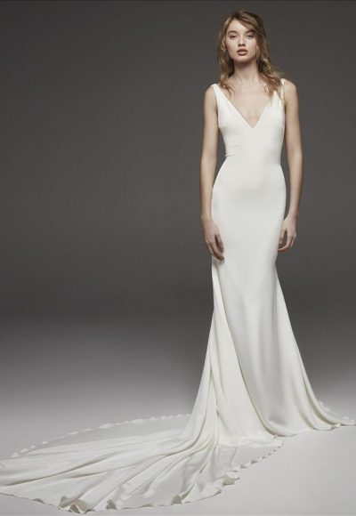 Sleeveless V-neck Simple Silk Sheath Wedding Dress by Pronovias