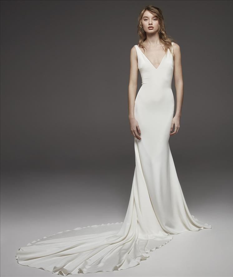Form Fitting Wedding Gowns: Sleeveless V-neck Simple Silk Sheath Wedding Dress
