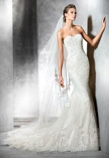 Strapless Sweetheart Lace Mermaid Wedding Dress by Pronovias - Image 1