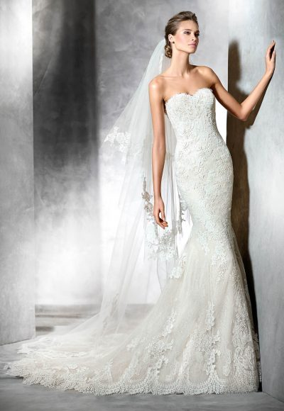 Strapless Sweetheart Lace Mermaid Wedding Dress by Pronovias